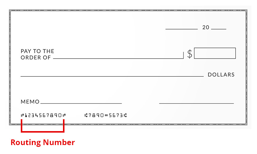 Photo of a Check, indicating that first set of numbers located at the bottom right is the bank routing number.